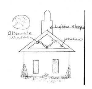 hand-drawn sketch of the Kleemann Chapel